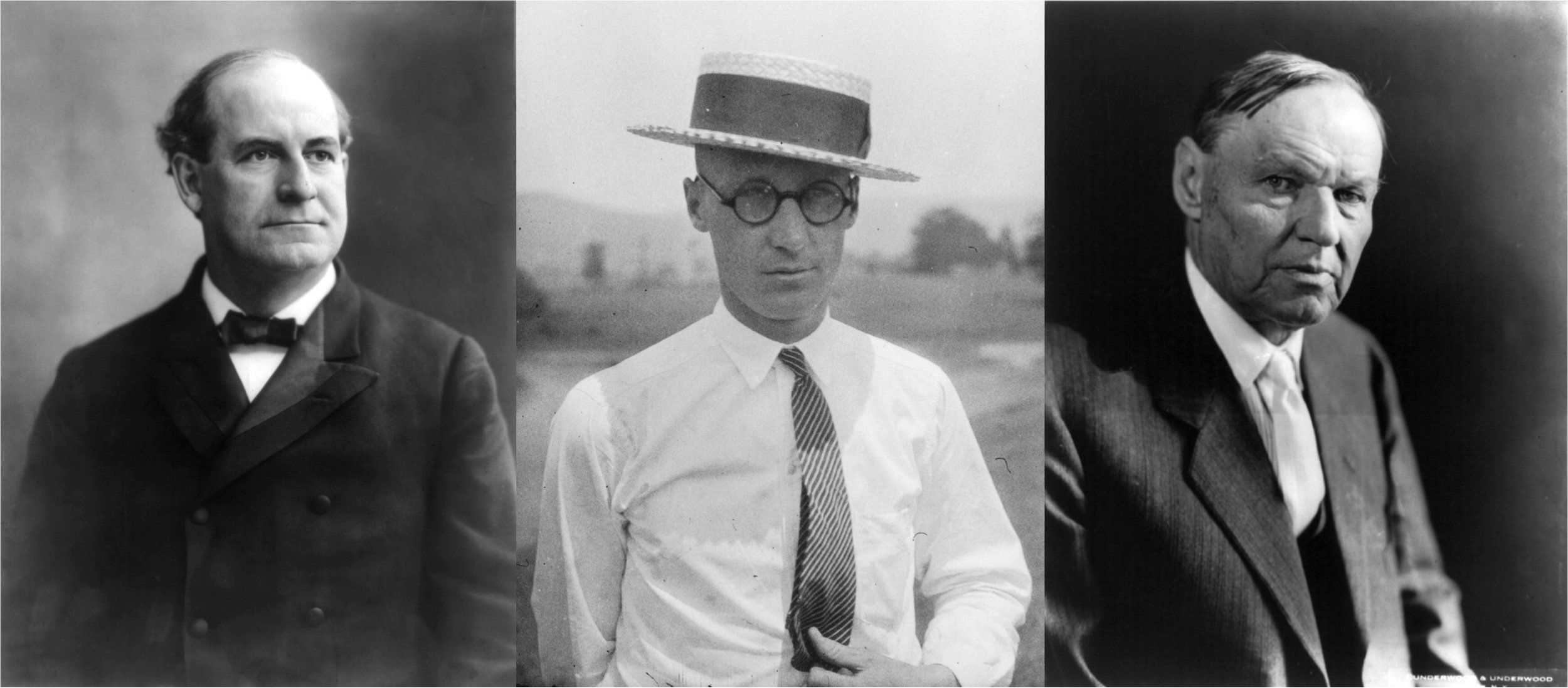 The three main parties of the Scopes Trial: William Jennings Bryan (left), John T. Scopes (center), Clarence Darrow (right). Source: Wikimedia Commons