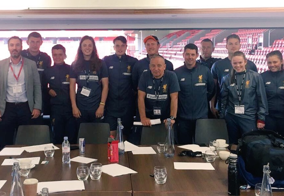 """At the iconic Liverpool Football Club delivering a """"mindset"""" workshop in the Kenny Dalglish stand with the fantastic and dedicated staff."""