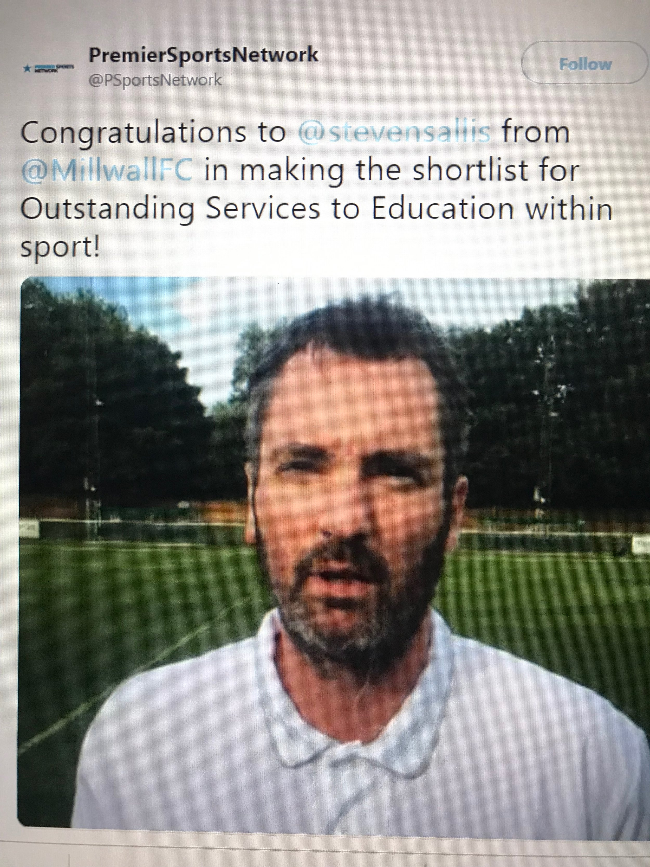 An award for dedication to professional football