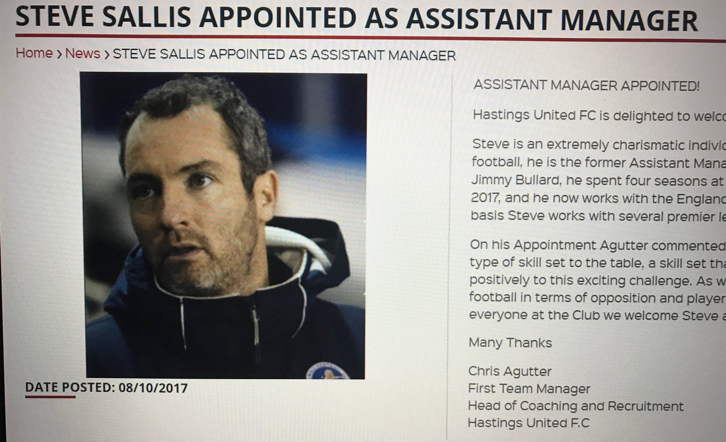 Sallis still manages to coach on the coal face in non-league. Link here:  http://www.hastingsunited.com/news/steve-sallis-appointed-as-assistant-manager