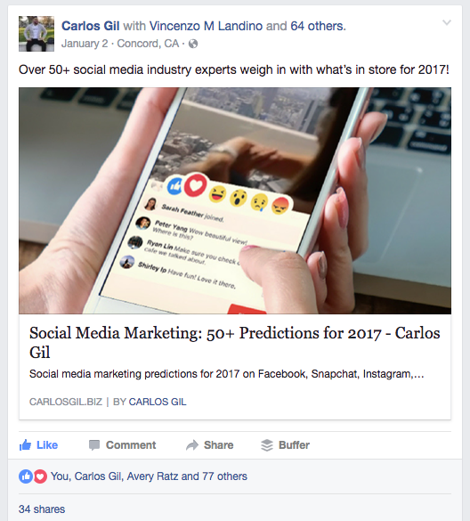 Facebook post by Carlos Gil for social media marketing predictions in 2017