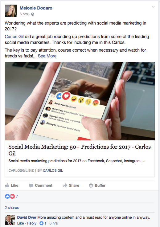 Melonie Dodaro shares Facebook article on 2017 social media marketing predictions