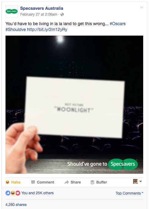 Viral Facebook post by Specsavers after Moonlight Oscars' mix up