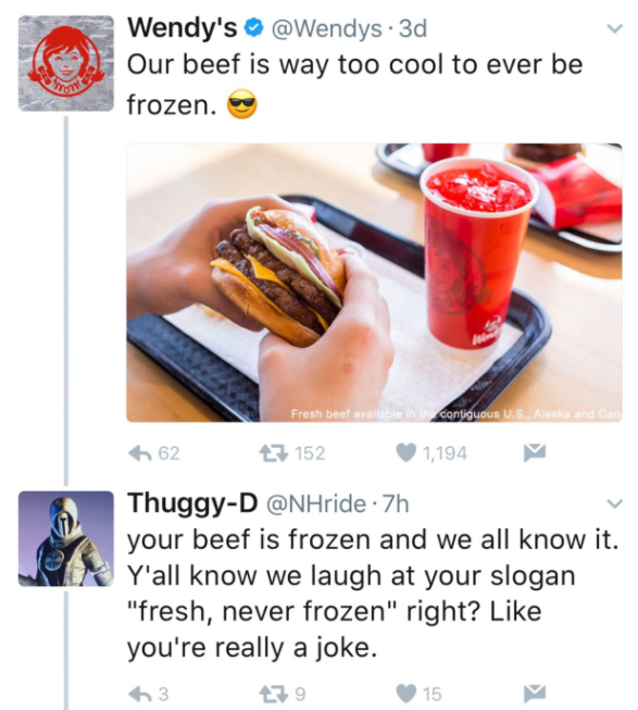 Wendy's social media Twitter response to Thuggy-D about their tweet 1