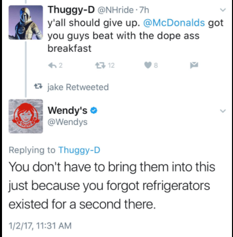 Wendy's social media Twitter response to Thuggy-D about their tweet 3