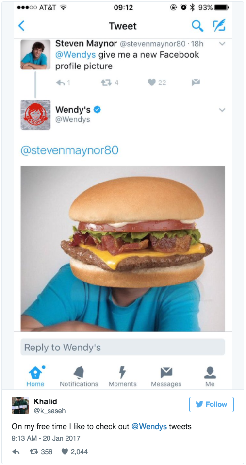 Guy gets a new social media profile picture of a hamburger courtesy of Wendy's Twitter account