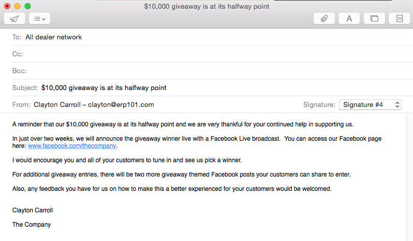 Email to dealer network about the social media giveaway 1