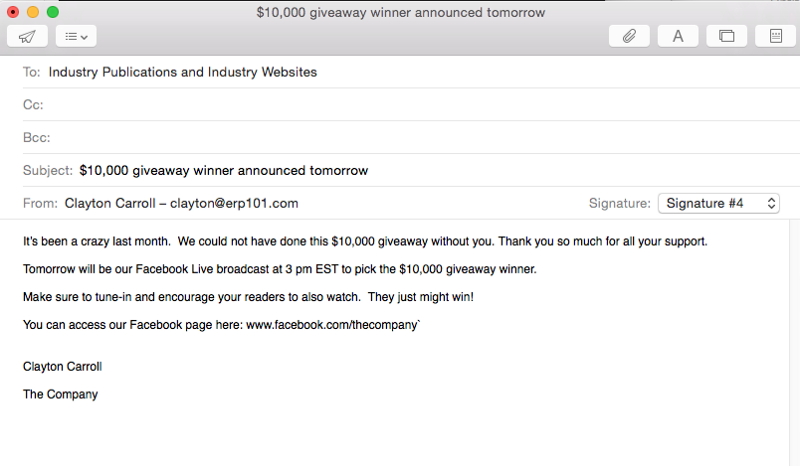Email to industry publications and websites about social media giveaway 2
