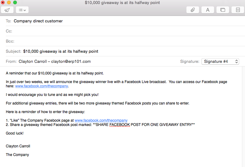 Email to customer list about social media giveaway 1