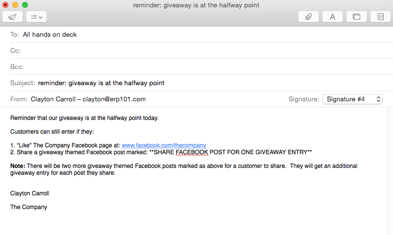 Email to all employees about social media giveaway 1