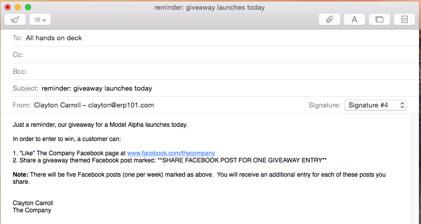 Email reminder to the company employees about the social media giveaway