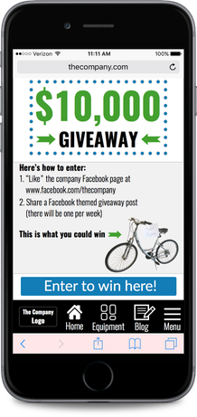Home page mobile website design for company to promote a social media giveaway
