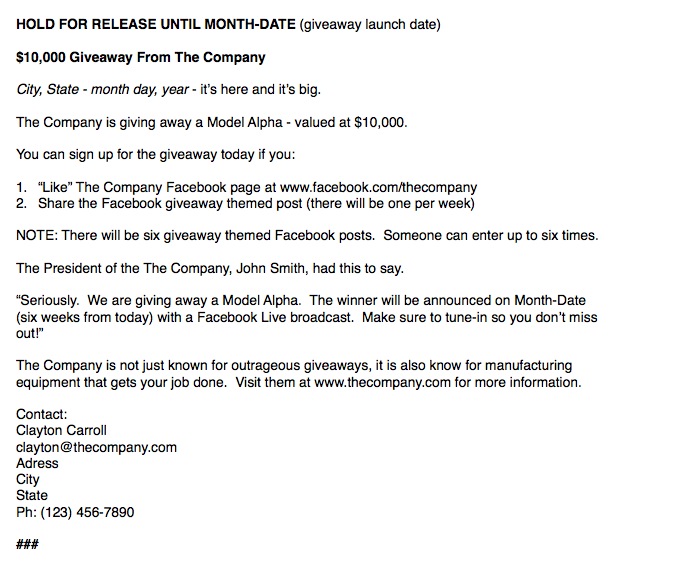 Press release for social media giveaway announcement