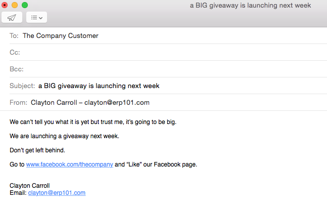 Giveaway upcoming announcement for social media giveaway to customer list