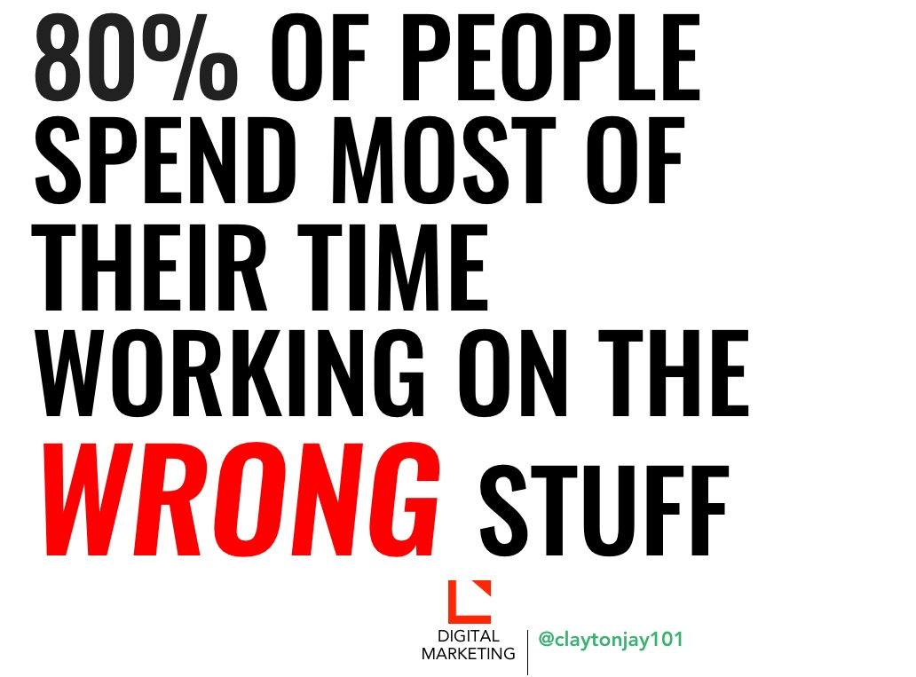 80 percent of people spend most of their time working on the wrong stuff
