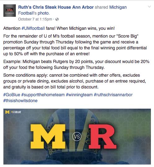 Ruth's Chris' original Facebook promotion that went viral on social media