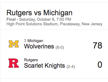 Michigan football score against Rutgers for the Ruth's Chris Facebook promotion