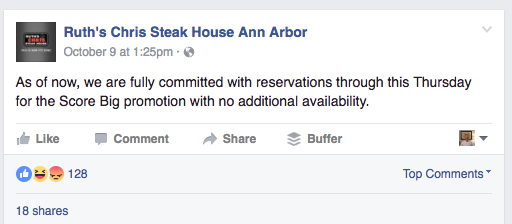 Ruth's Chris filled up with reservations on Facebook announcement after viral social media promotion