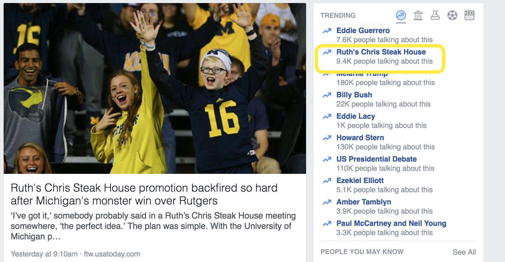 Ruth's Chris trending on Facebook after their social media promotion went wrong