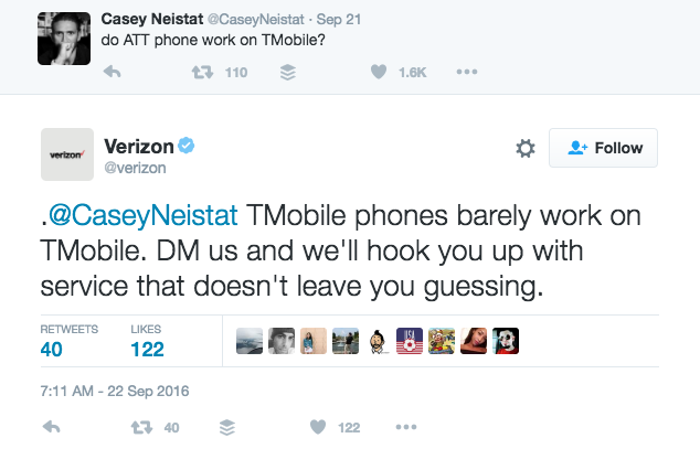 Verizon's tweet to Casey Neistat that took a shot at T Mobile