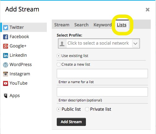 How to setup a Hootsuite Twitter Stream for competitor or company mentions on social media 2-1