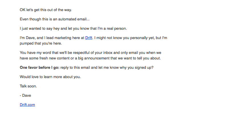 Drift's first email when you sign up for their social media marketing blog
