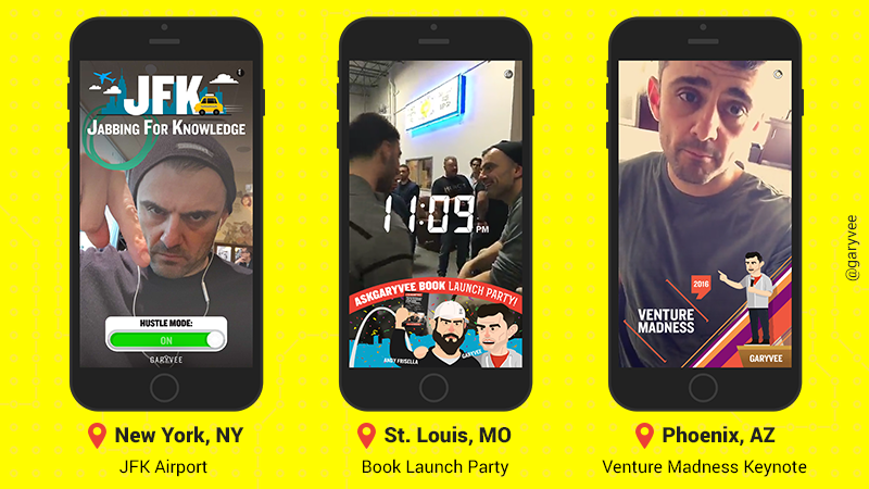 Gary Vaynerchuk On-Demand Snapchat Geofilters from different events, including an #AskGaryVee book launch party.
