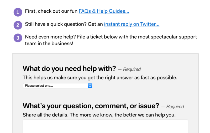 Basecamp's help guide on their website asks you to tweet them questions