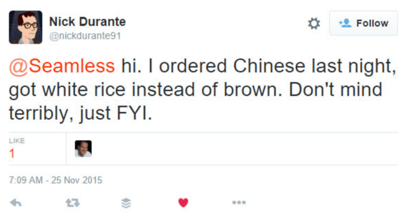 Tweet from customer to Chinese restaurant that they needed customer service 1