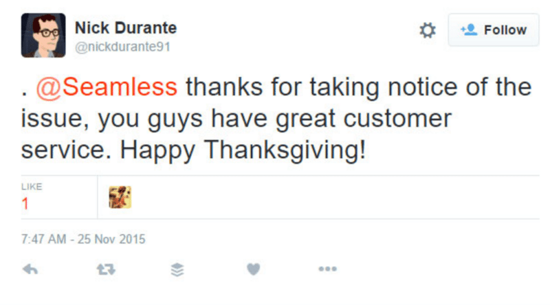 Tweet from customer to Chinese restaurant that they needed customer service 2