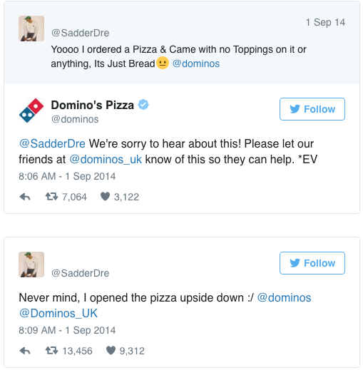 Domino's Tweets on Twitter after a customer thought their order had been messed up