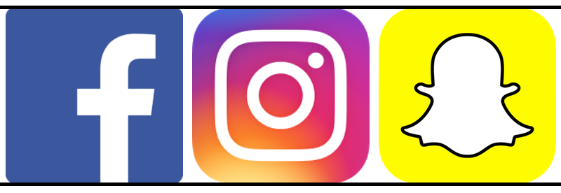 Icons for the social networks Facebook, Instagram and Snapchat