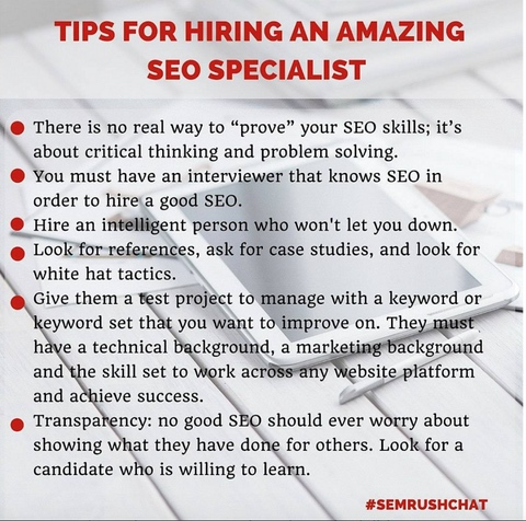 SEMRush Instagram post with tips for hiring an SEO Specialist