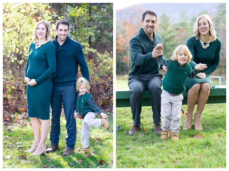 Fit mom in the fall with her family of three plus one
