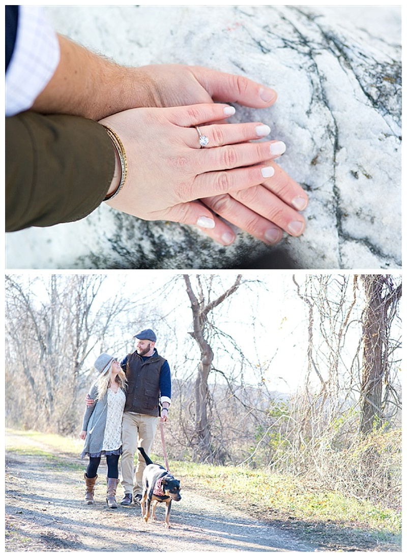 The beautiful ring and Veronica & Austin walking their rescue dog Jasper