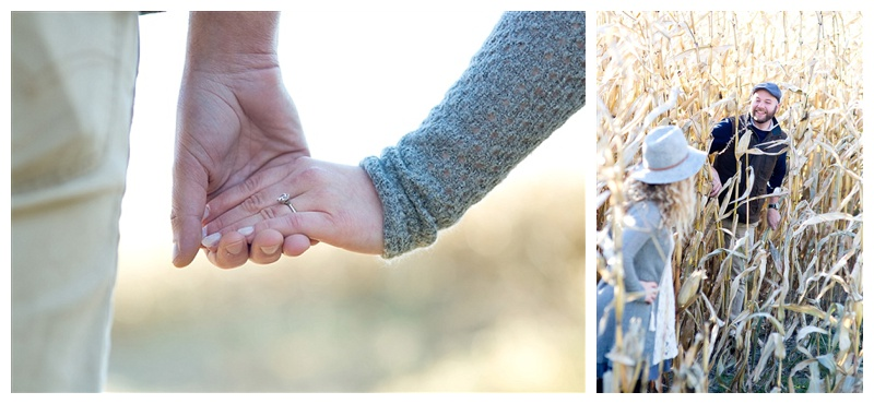 The engagement ring and looking through a cornfield