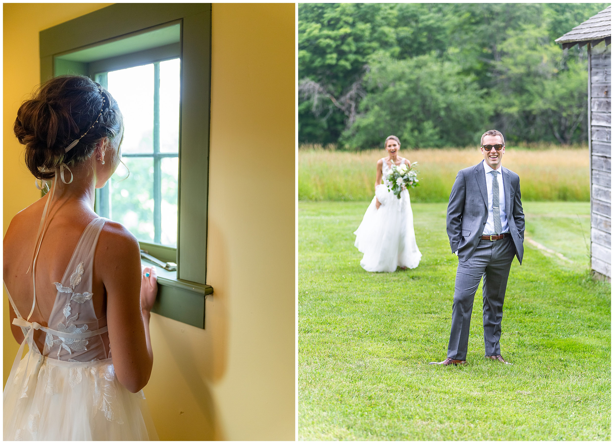 Sophia looks out from the bridal suite to where she will see her groom for the first time that day. He waits patiently by the grey barn until she is close enough to touch his shoulder.