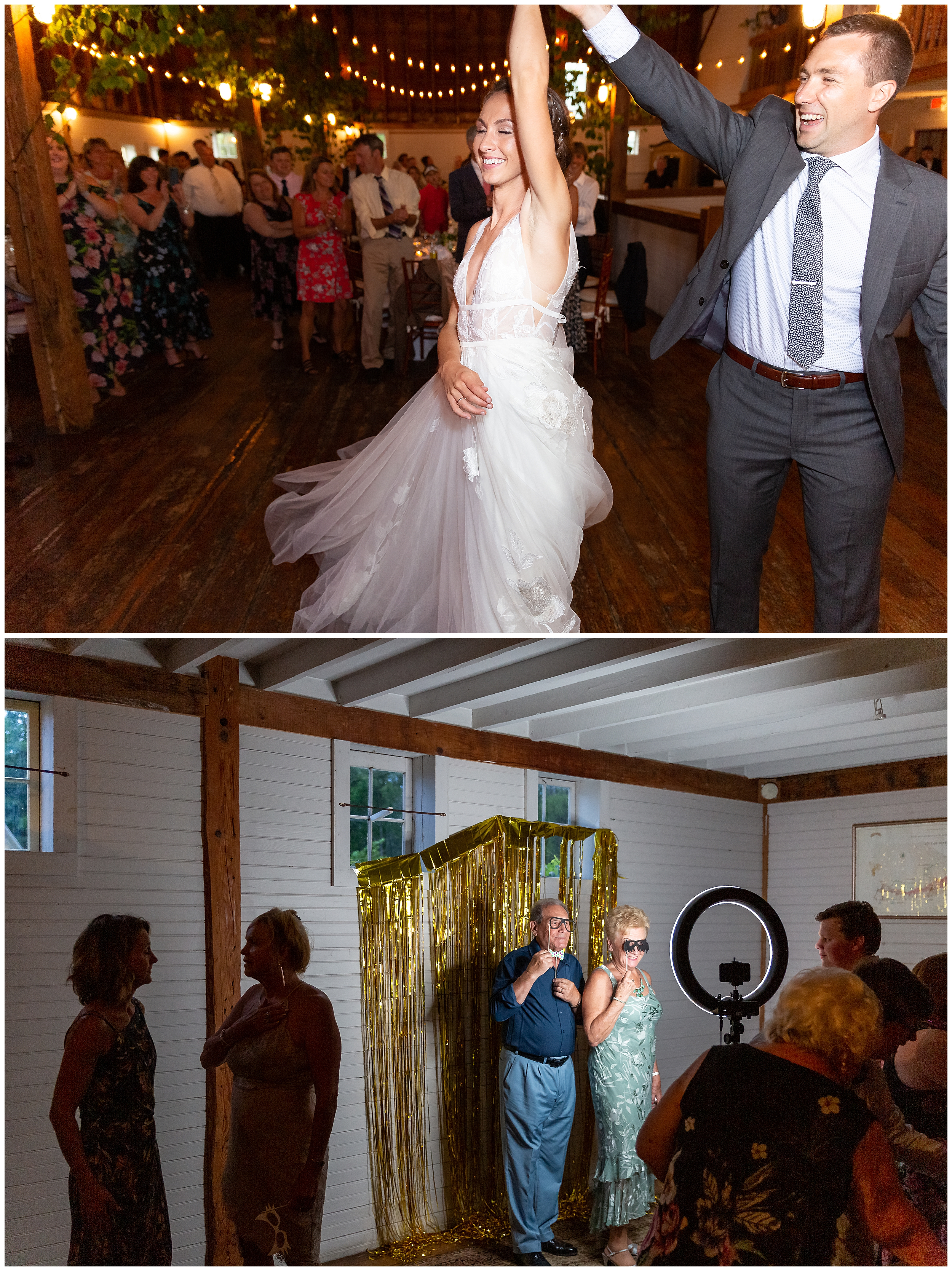Sophia and Kellen have a fun first dance and the guests proceed to enjoy the DIY photobooth.