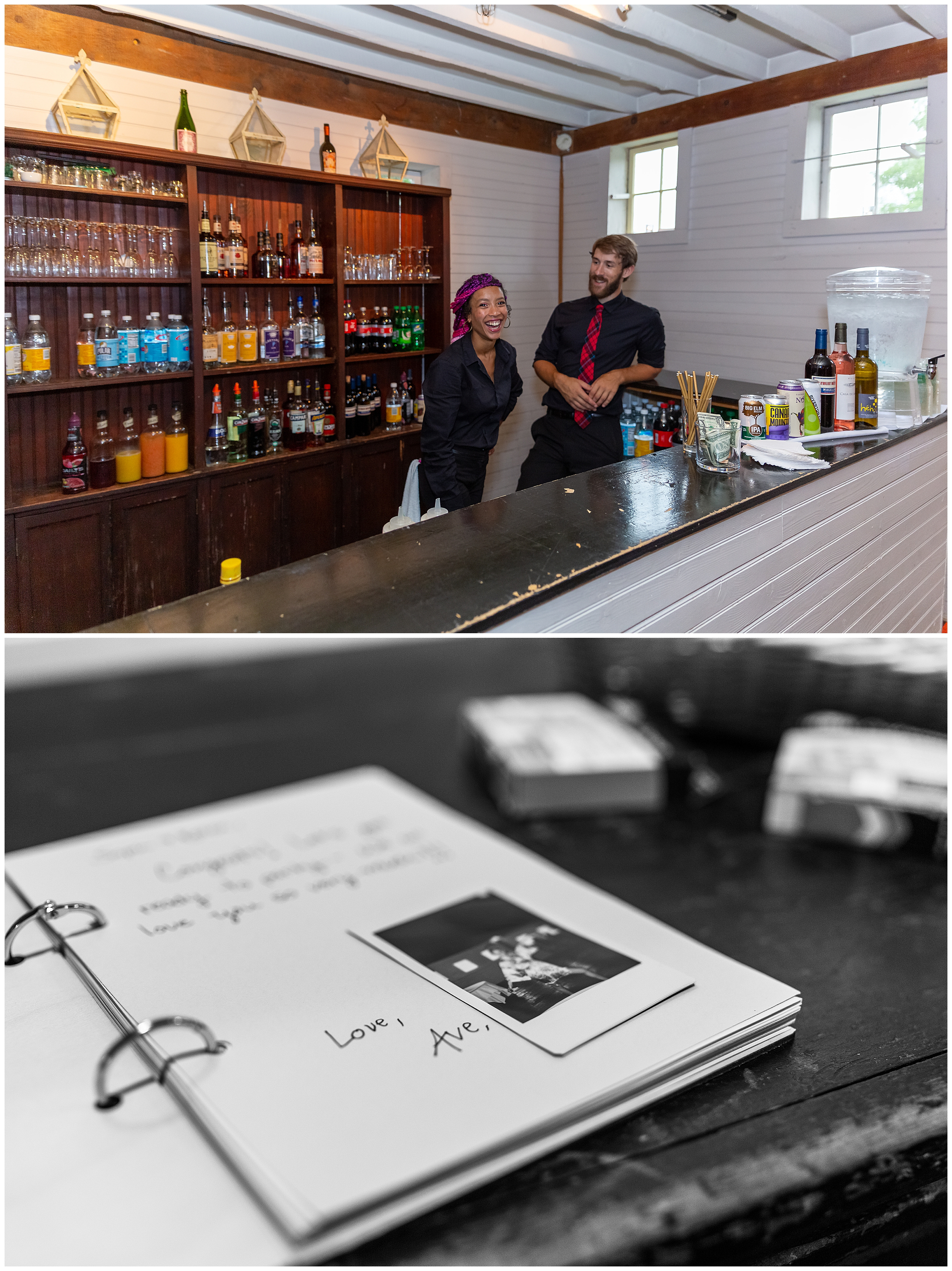 Gedney is prepared with catering and a full bar. Sophia and Kellen organized a polaroid guest book at the entrance of the reception.