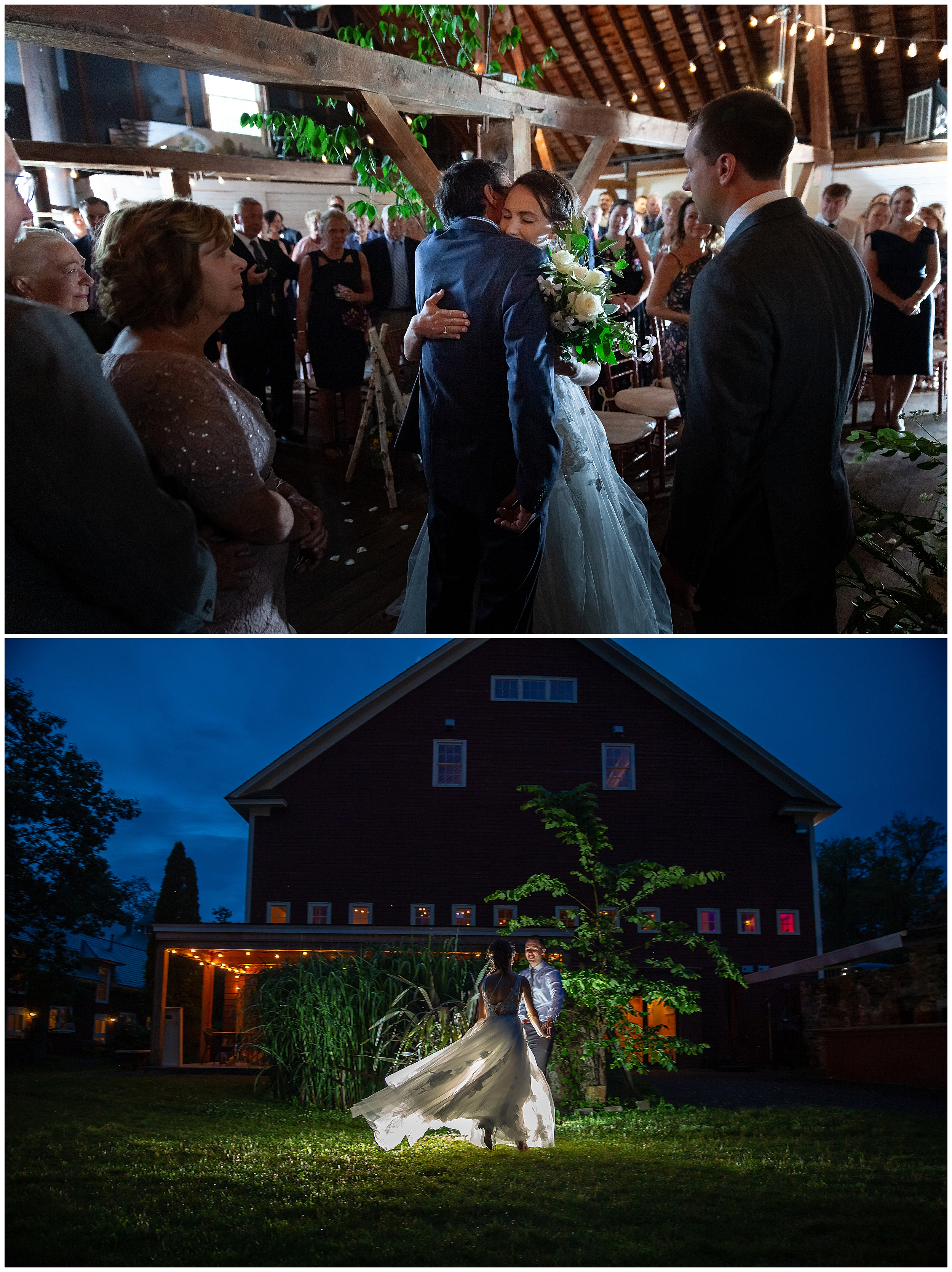 The hug with her father after walking down the aisle and the end of night magic under the misty moon as the newlyweds dance outside the barn.