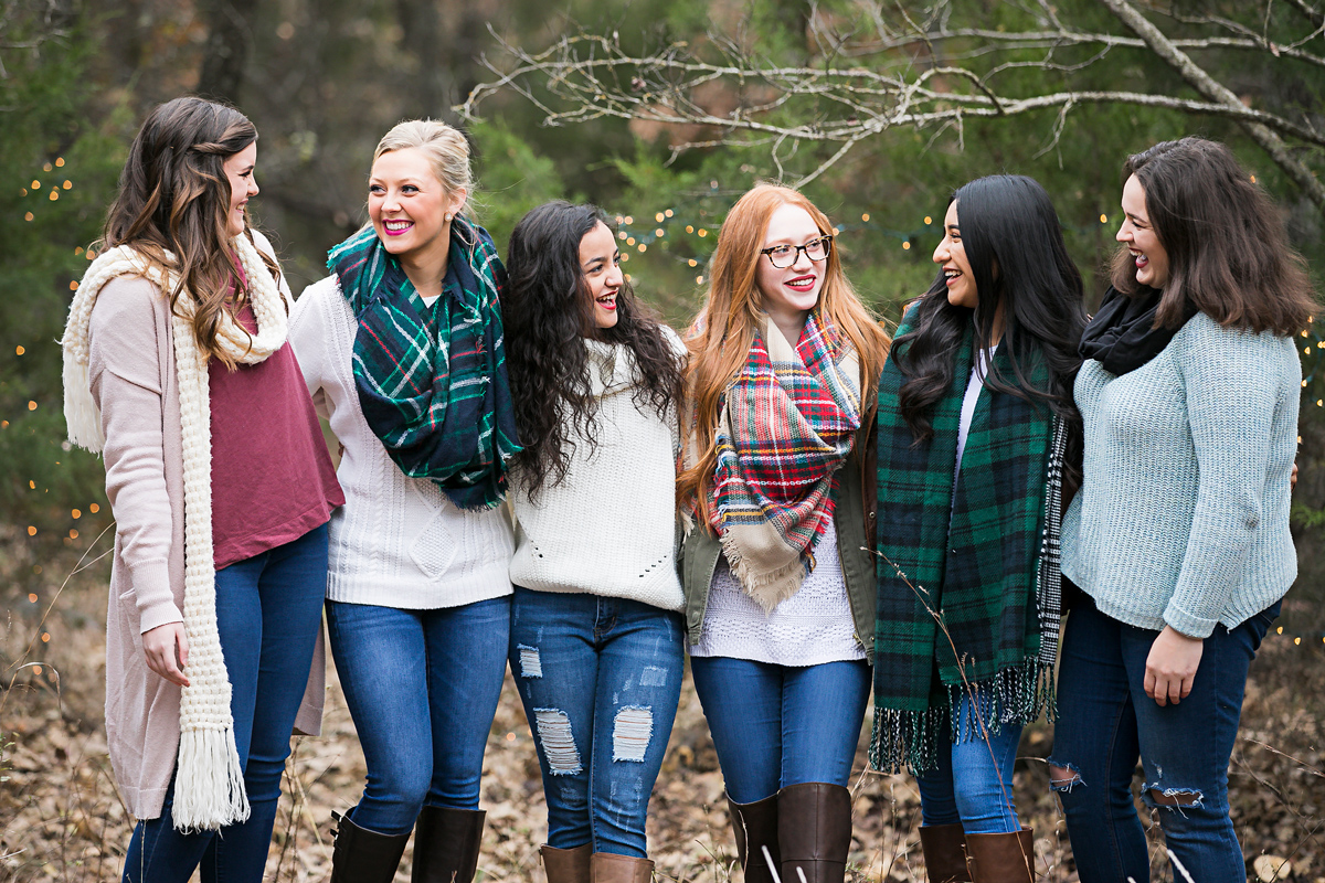 Amanda Lynn Photography's elite model camp fire group shoot in Oklahoma, girls standing around talking and laughing.