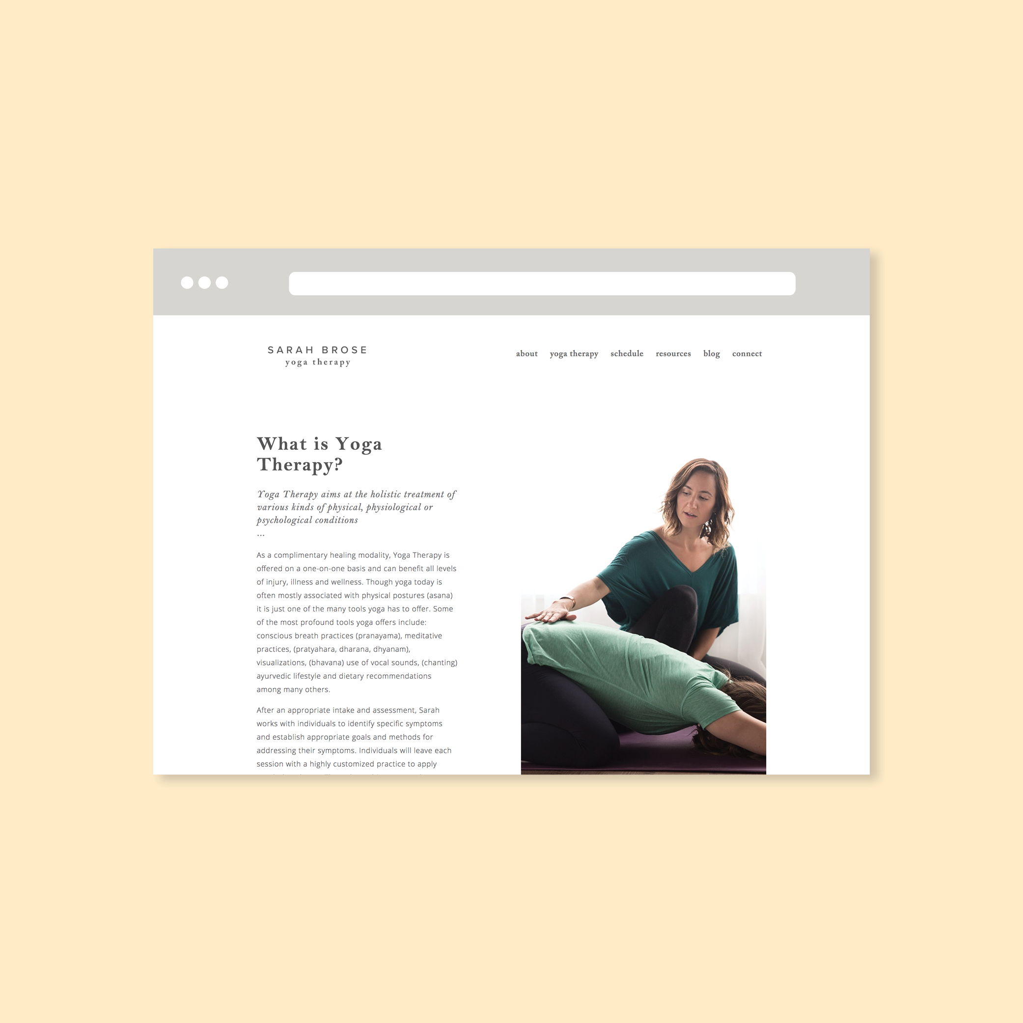 sarah brose yoga therapy website design