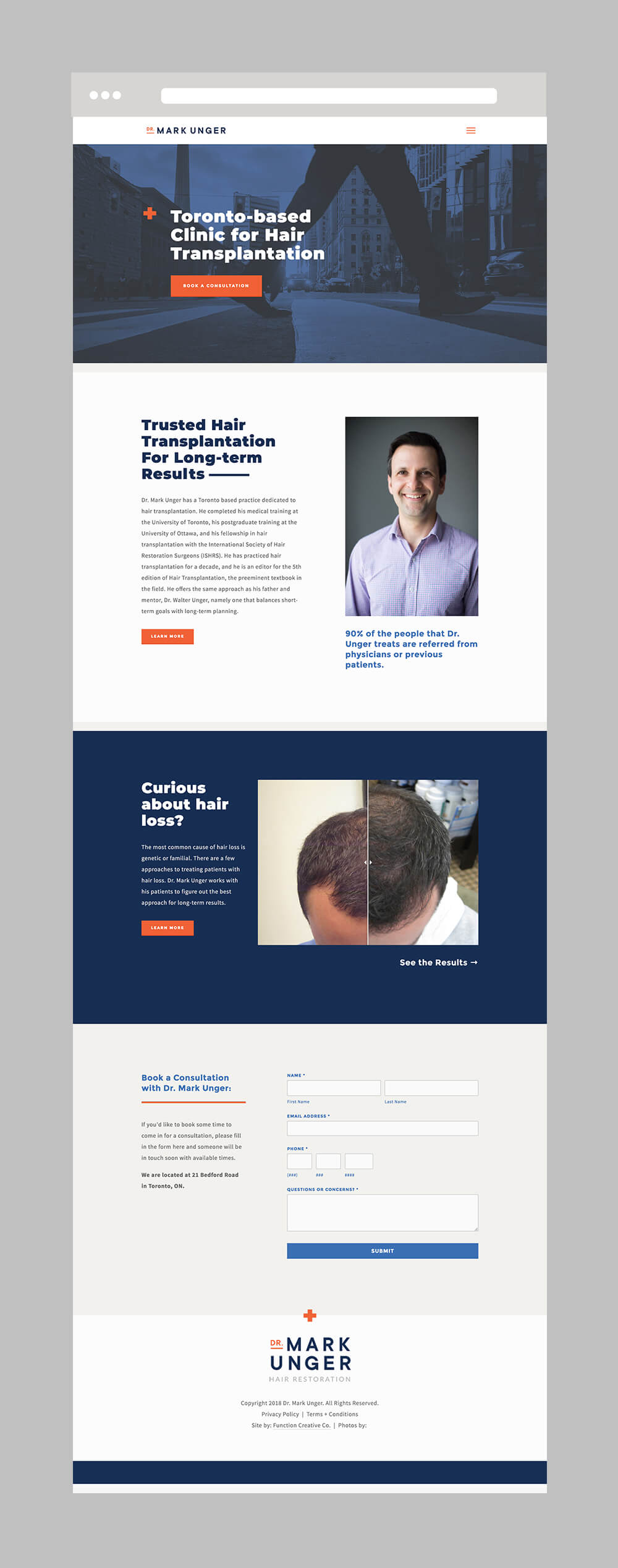 hair restoration brand design and website design by Function Creative Co.