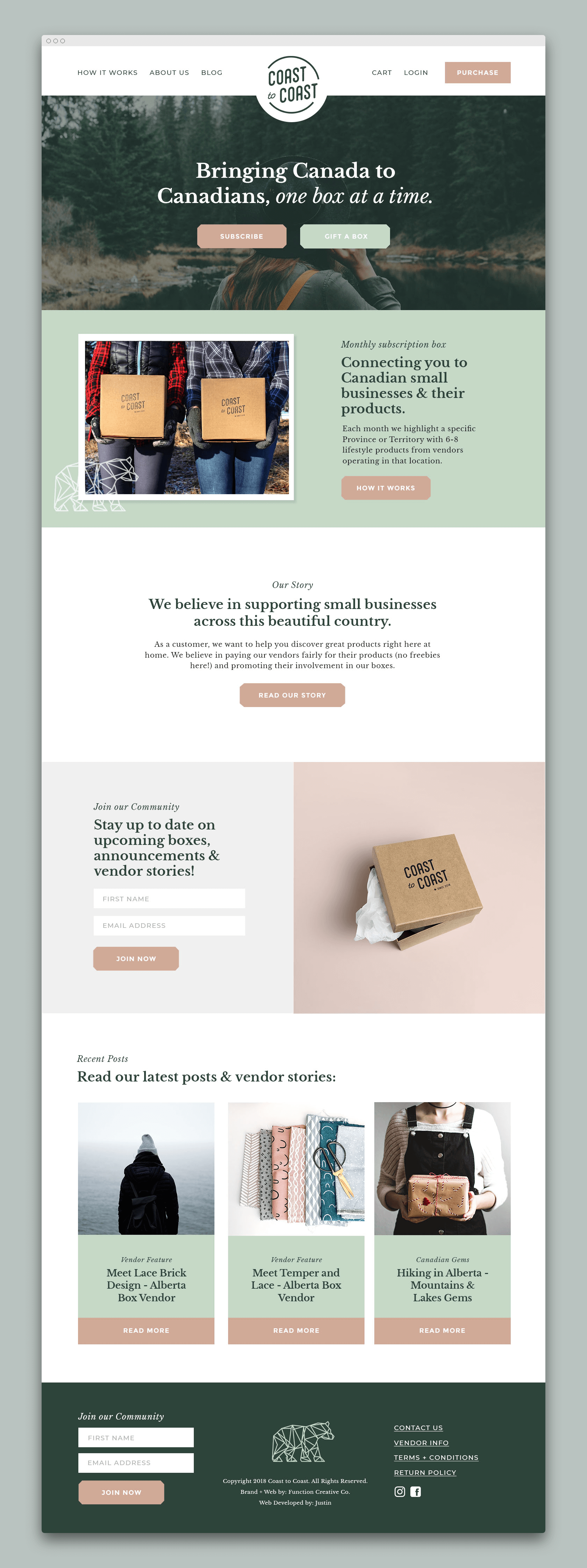 subscription box brand and packaging design website design by Function Creative Co.