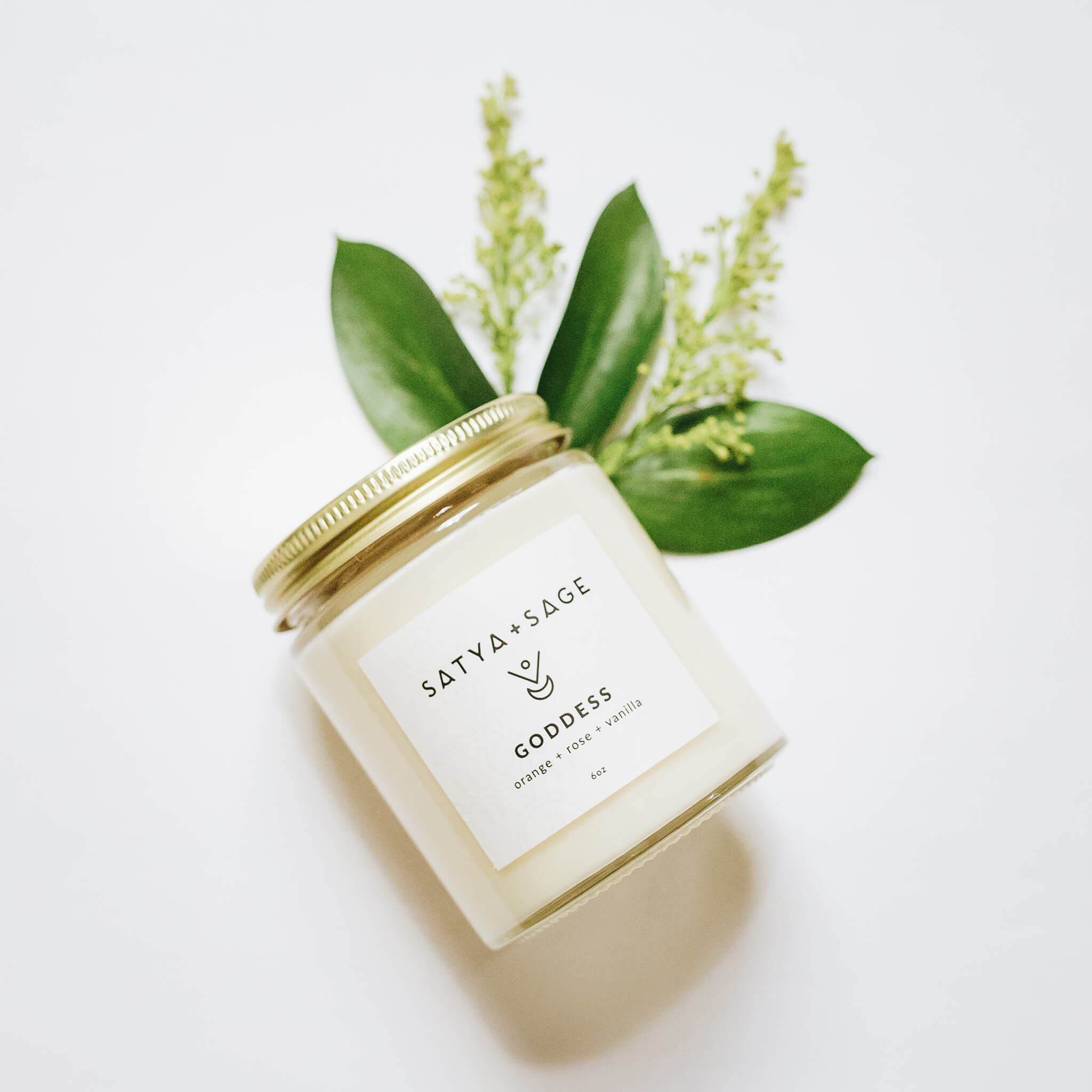 satya + sage handmade candle brand packaging design