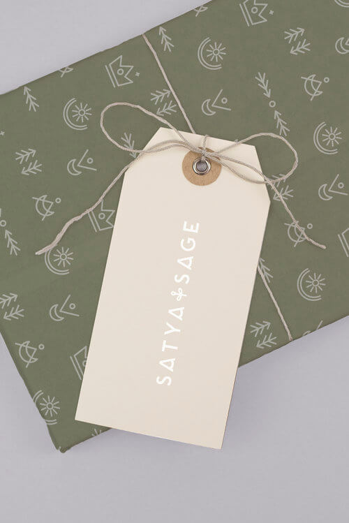 satya + sage handmade candle brand hangtag tissue paper