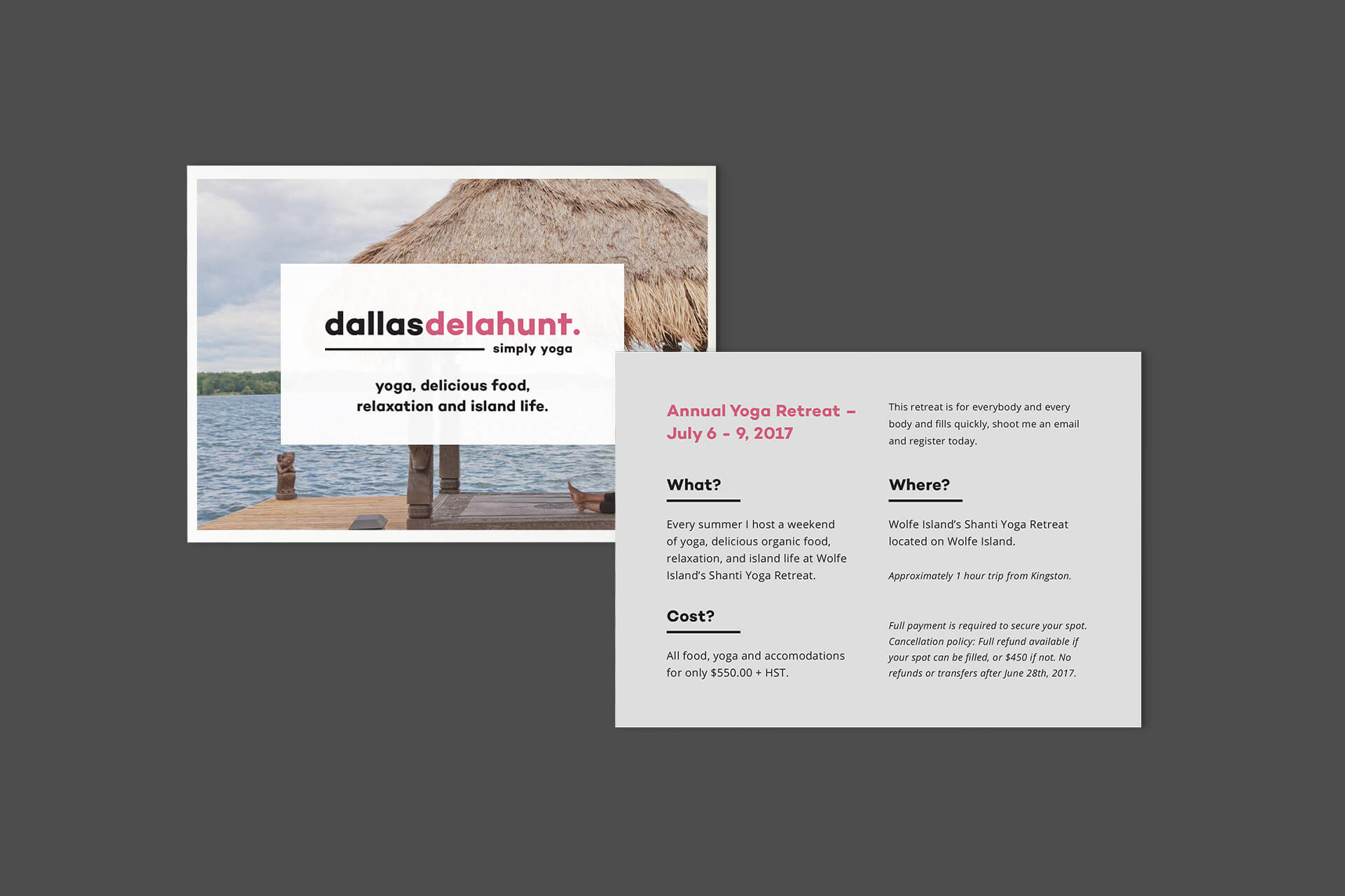 dallas delahunt yoga brand design postcard marketing material