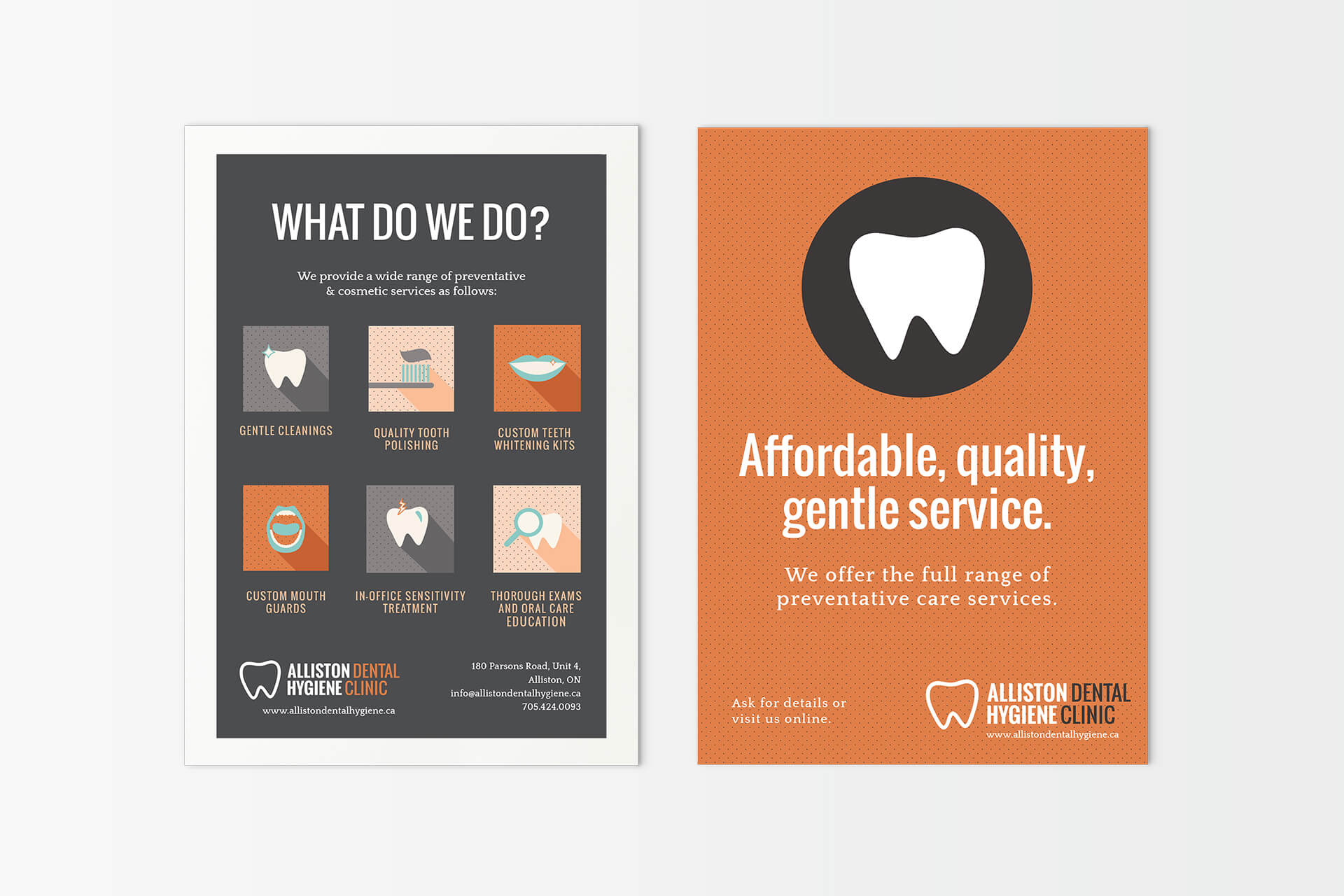 alliston-dental-brand-identity-postcards-flyers-marketing-material