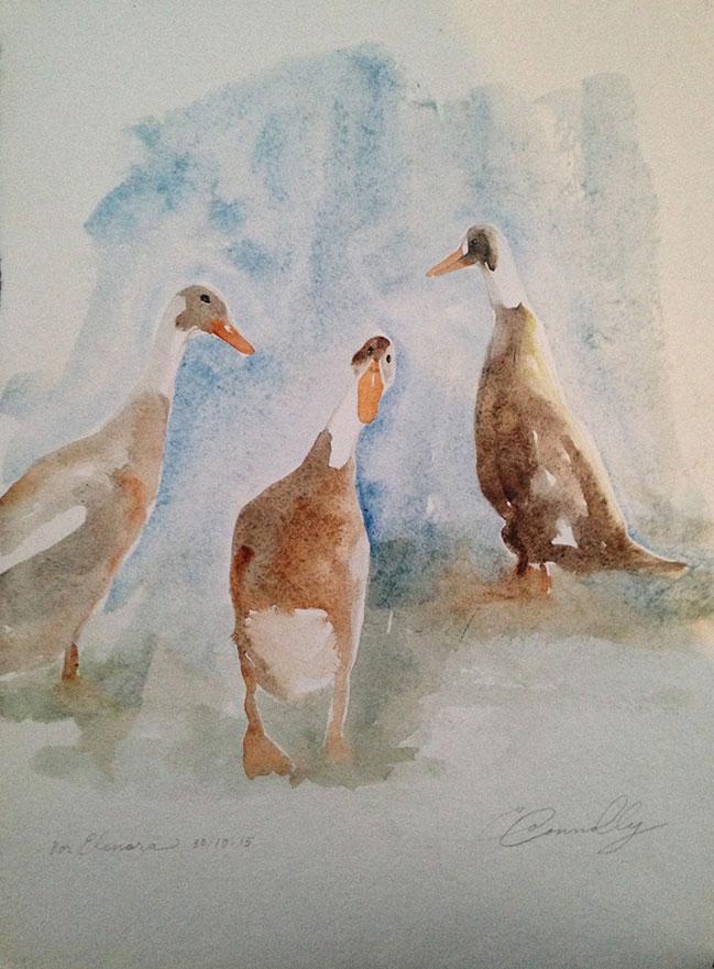Elanora's teenage ducks: watercolor, handmade paper cp, 10 x 13 in / 26 x 33 cm