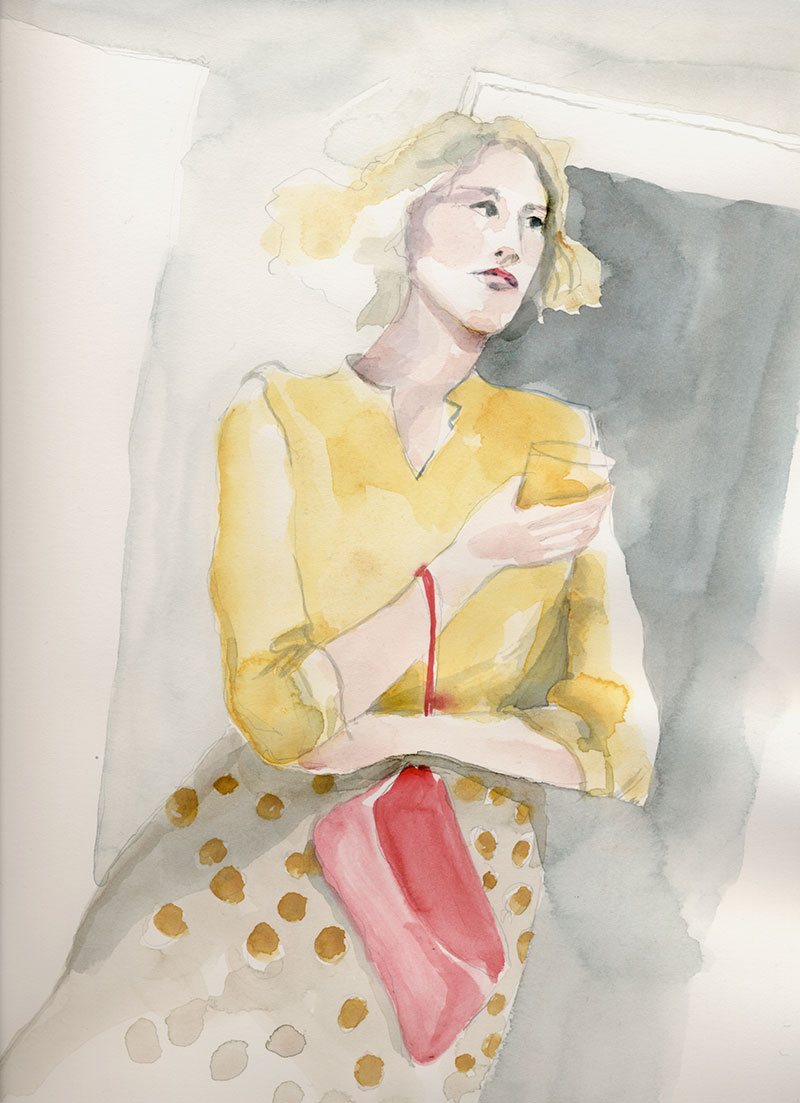 Sketch of Alice at the Holiday party in her gold foil dotted skirt.